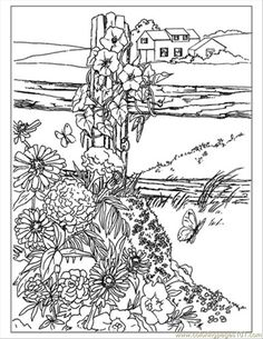 Garden Coloring Pages, Secret Garden Coloring Book, Free Adult Coloring Pages, Free Printable Coloring Pages, Coloring Book Pages, Book Flowers, Wild Flowers, Doodle Coloring, Colorful Garden