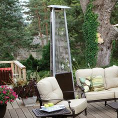 $350 Stylishly contemporary hammered bronze patio heater Heats up to a 10 foot diameter 38,000 BTU, propane-fueled Variable control and electronic ignition Wheels for easy mobility Dimensions: 24L x 24W x 94H inches