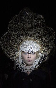À la russe. Model wears a stylized kokoshnik by Karl Lagerfeld.