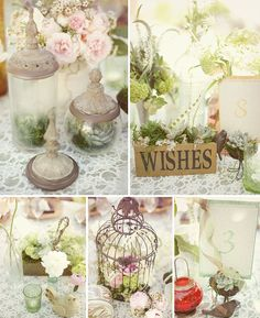 wedding mood board inspiration with table settings and favors