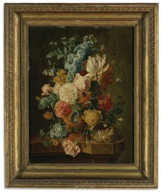 AFTER PAUL THEODOR VAN BRUSSEL, POSSIBLY BY JOHANNES CHRISTIANUS ROEDIG A STILL LIFE WITH CARNATIONS, PRIMULA, GRAPES, PEACHES, PLUMS, RASPBERRIES, APRICOTS, MAIZE, WALNUTS AND HAZELNUTS BEFORE AN URN ON A STONE LEDGE; A STILL LIFE WITH ROSES, CARNATIONS, TULIPS AND POPPIES IN AN URN AND A NEST ON A STONE LEDGE