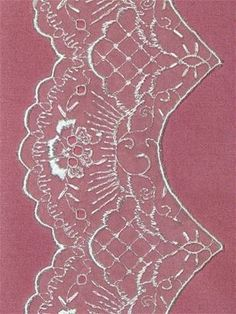 """Vintage Embroidered Shiffli Lace trim for traditional wedding gowns or formal dress. 5"""" wide."""
