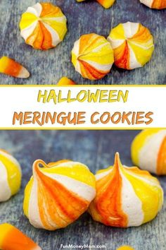 Halloween Cookies - These candy corn inspired meringue cookies are the perfect Halloween food for your next party! It's a tasty fall recipe that makes a fun sweet treat. via Lisa @ Fun Money Mom - Recipes Parenting Travel Saving Money & Fete Halloween, Halloween Food For Party, Halloween Cookies, Halloween Treats, Halloween Baking, Happy Halloween, Fall Recipes, Holiday Recipes, Candy Corn Cookies