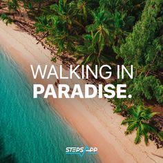 Every step counts, even in paradise 🏖 #beachlife #paradise #stepsapp. #holiday #vacation #sun