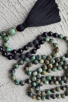LOVE the Empowerment 108 Bead Mala with african Turquoise, Black Onyx & Lava Stone; Tassel Necklace Beaded Yoga Necklace Meditation