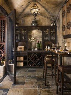 Stunning wine cellar and tasting room. What a great place to entertain! Decoration Design, Deco Design, Design Design, Wine Cellar Basement, Home Wine Cellars, Wine Cellar Design, Wine Tasting Room, Magical Home, Cigar Room
