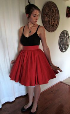 Simple KneeLength Cupcake Skirt with Wide Waist by CharmCityCurios, $70.00