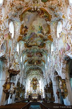Inside of the Parish Church of Mariae Geburt, Rottenburg, Bavaria, Germany. German Architecture, Baroque Architecture, Church Architecture, Beautiful Architecture, Beautiful Buildings, Beautiful Landscapes, Beautiful Places, Cool Places To Visit, Places To Travel