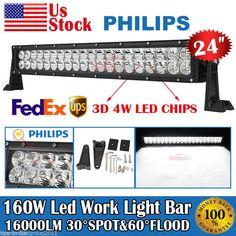 "22""24Inch 160W Led Light Bar Flood Spot Combo Work Light 4WD UTE OFFROAD SUV ATV #light #parts #accessories #truck #lamps #lights #bulbs #lighting #motors #spot #flood #combo #work #offroad #ebay"