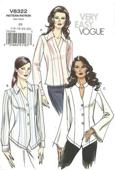 Vogue 8322 / Out Of Print Sewing Pattern / Blouse Shirt / Size 16 18 20 22