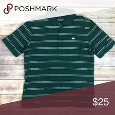 "Master's Collection Large L Men's Green & White Master's Collection Large L Men's Green & White Stripe Golf Polo Shirt  Armpit to armpit: 22.5"" Length: 30"" Master's Collection Shirts Polos"