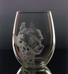 Quirky Giraffe wine glass stemless wine by GlassGoddessNgraving, $26.00