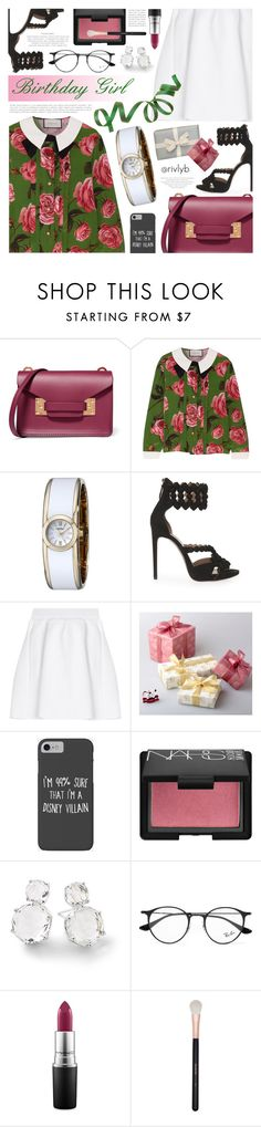 """""""Happy Birthday Rivly!"""" by becky12 ❤ liked on Polyvore featuring Sophie Hulme, Gucci, Caravelle by Bulova, Alaïa, malo, Disney, NARS Cosmetics, Ippolita, Ray-Ban and MAC Cosmetics"""