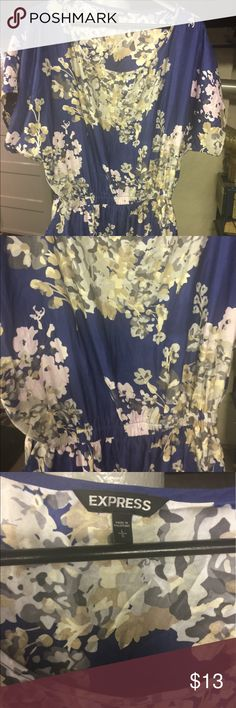 Express floral Sateen feel tunic or dress large Express floral Sateen feel tunic or dress large Express Tops Tunics