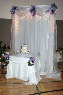floral decor for the wedding cake table and a gorgeous backdrop for