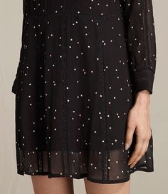 Womens Star Embroidered Dress (Black) - product_image_alt_text_4
