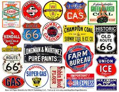 Rusty Metal Signs - Digital Vintage Americana Clip Art, Historic Route 66, General Store Sign, Antique Advertising Collage Art Papers, 203a