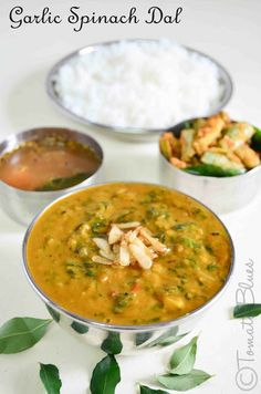 Spinach And Garlic Dal- Substitute the clarified butter with any vegetable oil and you have a lip smacking vegan version