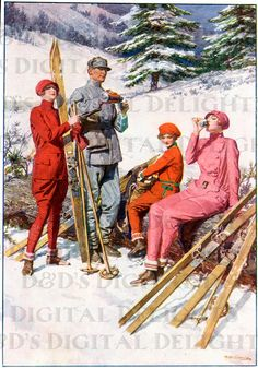 Hey, I found this really awesome Etsy listing at http://www.etsy.com/listing/123760656/rare-festive-ski-party-art-deco-vintage