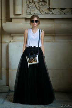 big skirt, t-shirt.