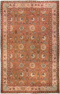 Antique Carpets European  American Wilton English  Axminster Brown Botanical 19x12 - 2 - 638x1000