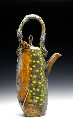 Porcelain Brook Trout Teapot w/ Snail - Hand Built Fired to Cone 10 Reduction  Fish Art, Conservationist, Nautical, River, Stream, Nature,Wildlife Art, Fisherman, Ceramics, Pottery, Yellow, Red, Black, Orange, Green, Blue, Beverage, Tea,   Found at :  https://www.etsy.com/listing/213742661/snail-trail-teapot-porcelain-hand-made?ref=shop_home_active_2