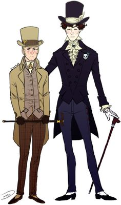 apparently people often confuse victorian fashion with other similar eras i am no exception FUCK THE (FASHION) POLICE, WHAT THE SHIT IS EDWARDIAN OR REGENCY, I DONT EVEN KNOW sherlyneuron: i would LOVE you if you drew a picture  with Sherlock and John in victorian clothes, like high hats and stuff. how-curious: Can  can I request John and Sherlock in Oscar Wilde-esque Victorian costume?
