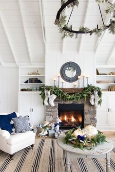 Navy and white Christmas decor rustic mantel