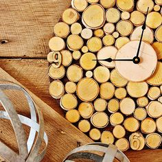 Use simple slices of wood, stain, and krazy glue to create your own DIY rustic wall clock.