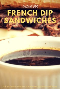 Instant Pot French Dip Sandwiches are unbelievably juicy shredded beef, covered in melted cheese served on a toasted, buttered french bread and dipped into the most flavorful au jus ever. A food experience like no other! French Dip Recipes, Instant Pot French Dip, Potted Beef Recipe, Pressure Cooking Recipes, Delicious Sandwiches, Thing 1, Instant Pot Pressure Cooker, Cooker Recipes, Food And Drink