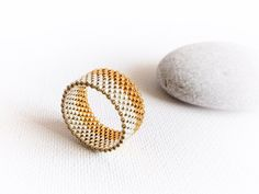 Wedding silver gold custom peyote band ring unisex by CallOfEarth, $28.00
