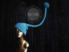 Long tail hat pattern, Easy crochet hat pattern, DIY Christmas gnome hat pattern, funny hat pattern, elf crochet hat tutorial, iLZE #ChristmasPattern #EasyHatPattern #RaisedTopHat #DiyElfHat #ElfHatPattern #DiyGnomeHat #LongTailhat #GnomeHatPattern #CrochetHatPattern #TailHatPattern Crochet Hat Tutorial, Easy Crochet Hat Patterns, Crochet Chart, Gnome Hat, Funny Hats, Crochet Faces, Single Crochet Stitch, Tote Pattern, Christmas Gnome