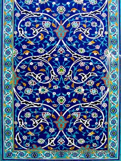 Persian style moraq tile mosaic, now in Kuala Lumpur, Malaysia. Beautiful design and color. Tile Art, Mosaic Art, Mosaic Tiles, Islamic Tiles, Islamic Art, Mandala, Persian Pattern, Turkish Art, Turkish Tiles