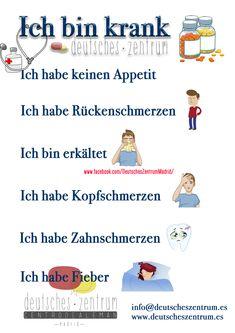 German Alemán vocabulary vocabulary DAF - Unusual Words - I& sick. Study German, German English, Learn German, German Grammar, German Words, Spanish Lessons, Learning Spanish, Learning Italian, French Lessons