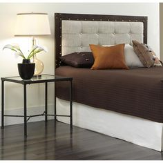 Gotham California King Metal Headboard with Dark Latte Upholstered Panel and Antique Industrial Studs in Brushed Copper
