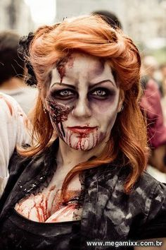 Zombie makeup; looks so real.... gives me ideas for this halloween