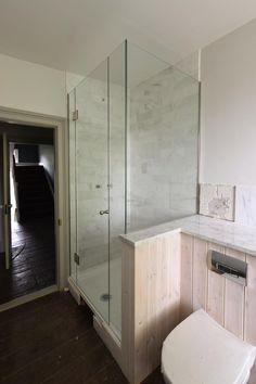 Low iron glass bespoke shower enclosure installed by Creative Glass Studio in London. Polished nickel hinges and a doorknob. Sliding Shower Screens, Remodel, Shower Doors, Enclosure, Room Divider, Storage, Frameless Shower Enclosures, Bathrooms Remodel, Shower Design
