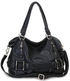 Black Weave Pattern Belt Accent Double Handle Top Closure Soft Hobo Bowler Satchel Office Tote Shoulder Bag Handbag Purse MG Collection, http://www.amazon.com/dp/B007N99SD6/ref=cm_sw_r_pi_dp_3x53pb0RR8WVK
