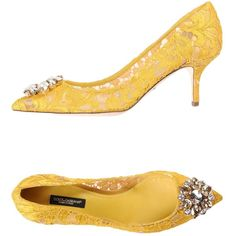 Dolce & Gabbana Pump (815 CAD) ❤ liked on Polyvore featuring shoes, pumps, yellow, yellow shoes, yellow pumps, dolce gabbana pumps, spiked heel shoes and leather sole shoes