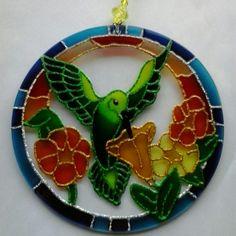 Mandala Beija-flor 15cm - vidro Www.capembas.com.br/catalogo/