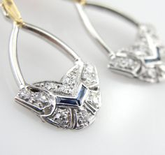18K Gold and Platinum Art Deco Diamond and Sapphire Drop Earrings ERDI1062D on Etsy, $1,785.00