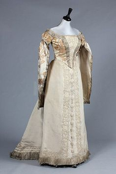 A Charles Frederick Worth brocaded satin Russian court dress, circa 1890. Front