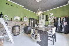 Vintage kitchen with green walls