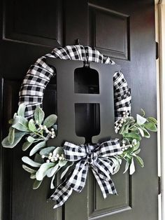 Front Door Decor Discover Buffalo Plaid Wreath White and Black Wreath Lambs Ear Wreath Monogram Winter Wreath Everyday Wreath Buffalo Check Spring Wreath Christmas Wreaths, Christmas Crafts, Christmas Decorations, Holiday Decor, Plaid Christmas, Outdoor Christmas, Christmas Ideas, White Christmas Trees, Christmas Pictures