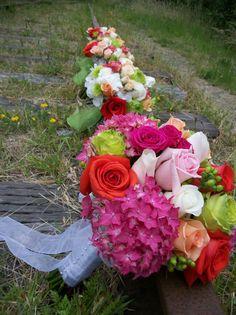 Bride and bridesmaids bouquets.