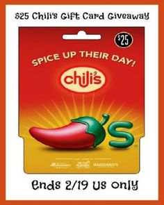 $25 Chili's Gift Card Giveaway – 1 Day ONLY! (ends 2/19)