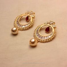Collections of American Diamond Jewellery Designs. View our stunning designs of Bangles, Necklace, Earrings, Bracelet and much more. Gold Jhumka Earrings, Jewelry Design Earrings, Gold Earrings Designs, Gold Jewellery Design, Designer Earrings, Necklace Designs, Diamond Earrings, Designer Jewelry, Gold Jewelry