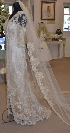 Champagne and Gold Chantilly Lace Mantilla Veil by CouturesbyLaura, $380.00