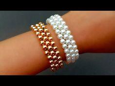 How To Make Simple Pearl Bracelet// Beads Bracelet// Useful & Easy - new season bijouterie Beaded Bracelets Tutorial, Diy Bracelets Easy, Handmade Bracelets, Handmade Jewelry, Pearl Bracelets, Pearl Rings, Pearl Necklaces, Jewelry Necklaces, Diamond Bracelets