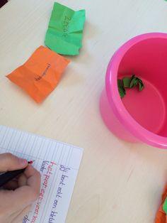 Gekke zinnen: Maak (samen) kaartjes in 2 verschillende kleuren. Schrijf op alle kaartjes een woord en vouw dubbel of maak er een propje van. Doe alle papiertjes in een grote bak. Grabbel dan van elke kleur 1 kaartje en maak met die twee woorden een zin en schrijf op. Hier kunnen vaak gekke zinnen uit komen!